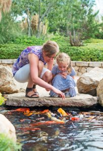 family looking at outdoor pond